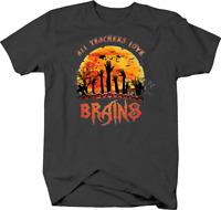 All Teachers Love Brains Zombie Halloween Word Play Tshirt