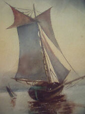 """IKM SIGNED WATERCOLOR CA 1900 """"SAILING SHIPS"""" OLD GOLD FRAME STUNNING"""