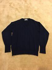 Ballantyne Vintage Mens Navy 100% Cashmere Vneck Sweater 42 Scotland Made