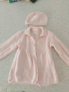 Emile et Rose designer girls Pink Knitted coat with hat age 12 months