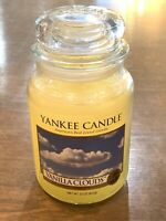 """Retired Yankee Candle """"VANILLA CLOUDS"""" Large 22 oz WHITE LABEL Vintage New"""