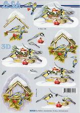 3D Motivbogen Etappenbogen Bastelbogen Schneidebogen A 4 Vögel im Winter (238)