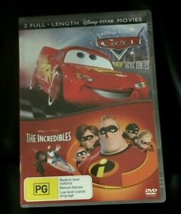 Disney Double Pack : The Cars / Incredibles (2007 : 2 Disc DVD) VGC Region 4