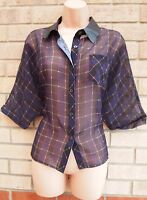 DEBENHAMS NAVY PURPLE CHECK TARTAN CHECKED BUTTONED BAGGY T SHIRT TOP BLOUSE 10