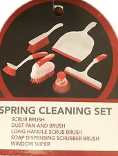 Spring Floor Cleaning Set Scrub Brush Dust Pan Window Wiper Soap Dispensing