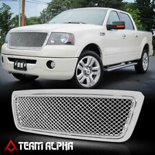 Fits 2004-2008 Ford F150/Mark LT <3D WAVE MESH> Chrome Bumper Grille Vent Grill