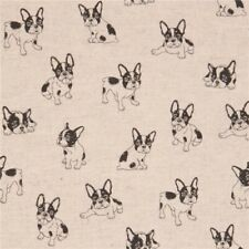 French Bulldog Fabric - Cotton & Linen Mix - Japanese Fabric