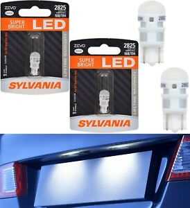 Sylvania ZEVO LED Light 2825 White 6000K Two Bulb License Plate Tag Upgrade Fit