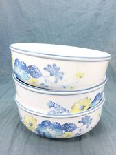 3 Noritake Progression Good Times Coupe Cereal Bowls Blue Yellow Flowers