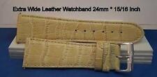 24mm Wide Bone Strap Genuine Leather Watch Band. w/Spring Bars