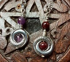 DRAGONS TAIL NECKLACE WITH AMETHYST or GARNET IN FRAME ON STERLING SILVER CHAIN