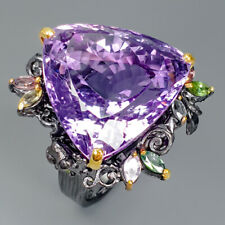 Wedding Engagement Gift Natural Amethyst 925 Sterling Silver Ring Size 8/R77486