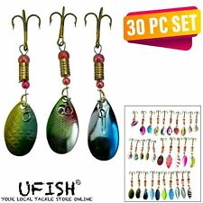 Ufish 30pc Set Spoon Trout Metal Fishing Bass Lures Tackle Baits Spinner Lot