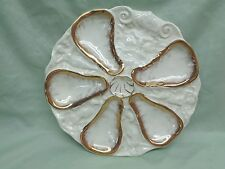 Beautiful Antique Hand Painted Porcelain Oyster Plate w/Gold Trim