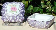 Vintage KPM GERMANY Porcelain TRINKET BOX w/ LID Pink Roses Purple Floral VANITY