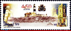 2708 BRAZIL 1999 SALVADOR CITY, LIGHTHOUSE, CHURCHES, MI# 2935 RHM C-2192, MNH