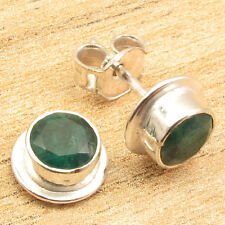 925 Silver Plated EMERALD STUD Earrings ! Online Store ! Price Start From $0.99