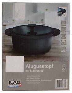 Alugusstopf mit Glassdeckel Fleischtopf Suppe Kochtopf Silikon-Griffen 20 cm
