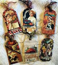 Prim Vintage Thanksgiving ~6 Large Hang Tags~Scrapbook~Card~#134~judysjemscrafts
