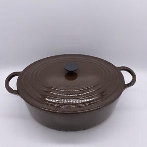 Vintage Le Creuset Brown Oval Cast Iron Casserole Dish Size C 25cm 3Ltr