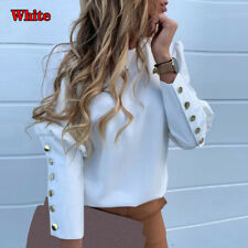 Women Long Sleeve Print Office Lady Blouse Top Back Button Pineapple Print
