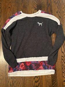 Victoria's Secret pink floral sequin pullover sweatshirt