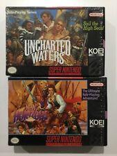 Uncharted Waters 1+2 Lot 100% Complete Near Mint Super Nintendo SNES CIB
