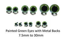 PAINTED GREEN Crystal Eyes with METAL BACKS - Teddy Bear Toy Doll Safety
