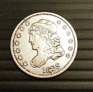 1829 CAPPED BUST LARGE LETTER EDGE SILVER USA HALF DIME