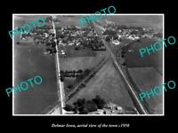 OLD POSTCARD SIZE PHOTO DELMAR IOWA AERIAL VIEW OF THE TOWN c1960