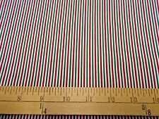 """2 yards """"Red, Green and White Stripe"""" Christmas Fabric"""