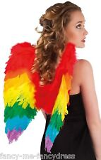 Ladies Rainbow Parrot Feather Bird Wings Multi Fancy Dress Costume Accesory