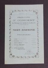 Carte d'invitation CONCERT Harmonie de NIORT Deux-Sèvres 23 avril 1911