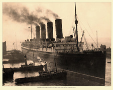 R.M.S. Mauretania in a British harbor Photo 9 x 12