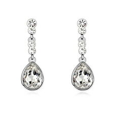 Silver Clear Long Teardrop Wedding Earring Made With Swarovski Crystal XE96