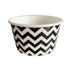 Black Chevron Ice Cream Paper Cups, Dessert Container, Tubs, Ice Cream Tubs,