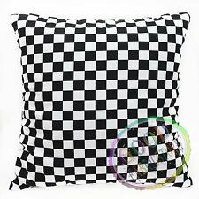 ah601a Black White Square Checker Check Cotton Fabric Cushion Cover/Pillow Case