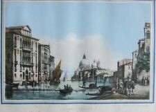 Antique Hand-Colored Lithograph View of Venice Grand Canal Tommaso Viola 1850