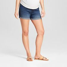 Maternity Crossover Panel Midi Jean Shorts - Dark Wash – Sizes 2 & 4 Isabel #d3