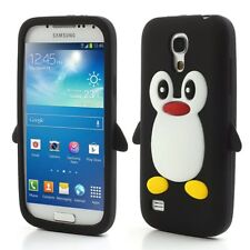 Samsung Galaxy S4 Mini Soft Silikon Case Pinguin Cute 3D Hülle Cover Schwarz