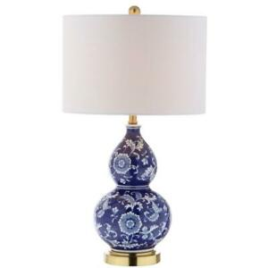 Lee 27 in. H Blue/White Ceramic Chinoiserie Table Lamp by JONATHAN Y