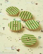Botones de Madera Impreso 5pc Verde Raya 25mm Costura hágalo usted mismo Artesanía Scrapbook nociones