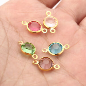 20pcs Gold stainless steel Connector Crystal Charms DIY Jewelry Making 8.5*15mm