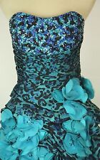 NEW $550 Jovani Size 2 High Low Strapless Prom Formal Evening Long Blue Dress
