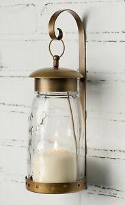 Quart Mason Jar Hanging Wall Sconce w Bracket Pillar Candle Holder Antique Brass