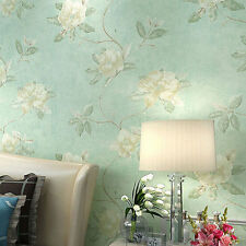 Vintage Floral Wallpaper Country Retro Non-Woven Wall Decor 10M Green Rolls