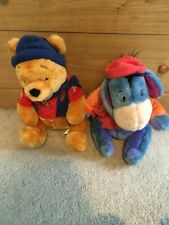 Disney Store- Fall Winnie the Pooh & Eeyore Plush Set- Fall Themed hat & scarves