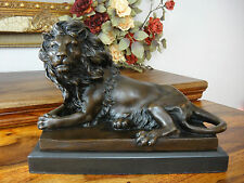 Bronze + Marmor Königslöwe Statue Löwe Skulptur Raubkatze Figur Edel Luxus Antik