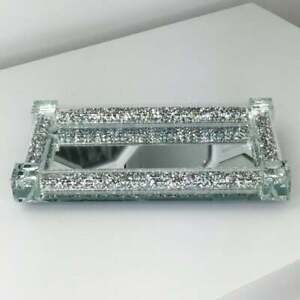 Silver Crushed Crystal Diamond Salt Pepper Shaker Tray for Salt and Pepper Gift