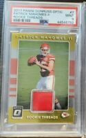 2017 Donruss Optic Rookie Threads Patrick Mahomes PSA 9 Mint RC patch relic #7